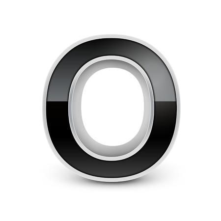 metal noir: 3d m�tal noir alphabet O isol� sur fond blanc
