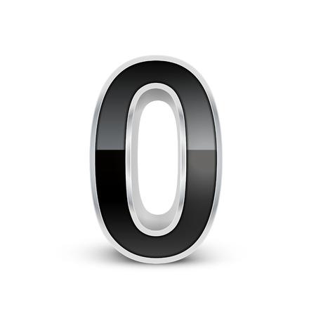 metal noir: 3d noir m�tal num�ros 0 isol� sur fond blanc Illustration