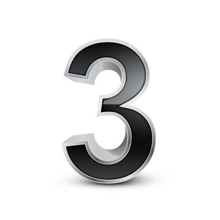 number 3: 3d black metal number 3 isolated on white background