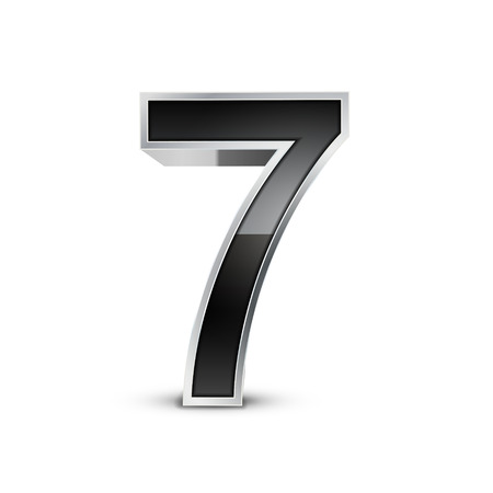 number 7: 3d black metal number 7 isolated on white background