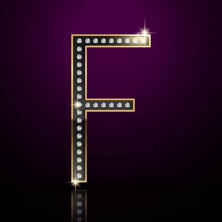 letter f: 3d elegant diamond letter F isolated on purple background Illustration