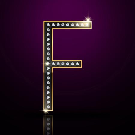 diamond letter: 3d elegante lettera diamante F isolato su sfondo viola