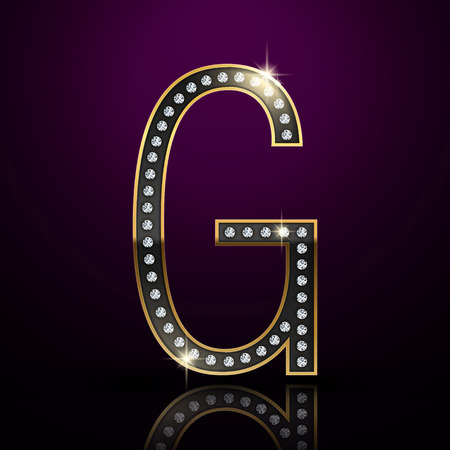 diamond letter: 3d elegante lettera diamante G isolato su sfondo viola