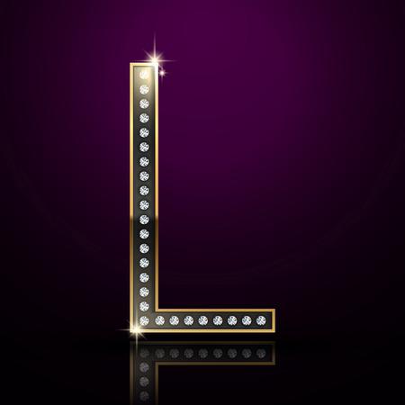 diamond letter: 3d elegante lettera diamante L isolato su sfondo viola