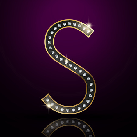 character abstract: 3d elegant diamond letter S isolated on purple background