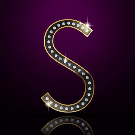 3d elegant diamond letter S isolated on purple background