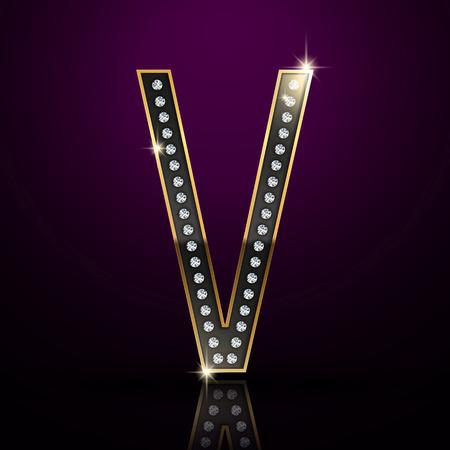 v alphabet: 3d elegant diamond letter V isolated on purple background Illustration