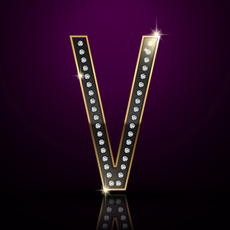 diamond letter: 3d elegante lettera diamante V isolato su sfondo viola
