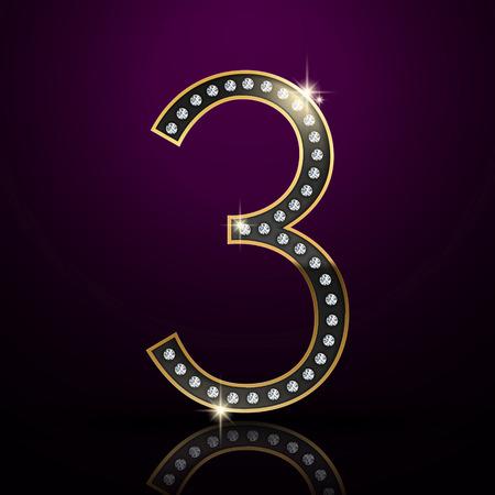 number 3: 3d elegant diamond number 3 isolated on purple background