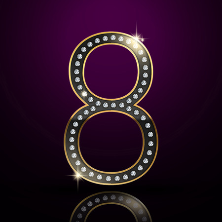 number 8: 3d elegant diamond number 8 isolated on purple background