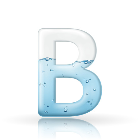 clean: 3d clean water letter B isolated on white background
