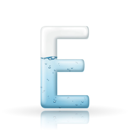 clean: 3d clean water letter E isolated on white background