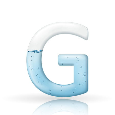 3d clean water letter G isolated on white background