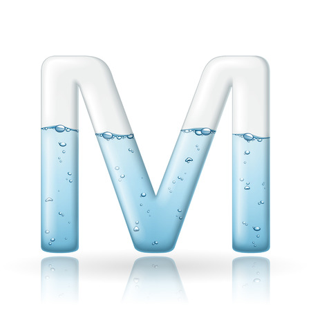 3d clean water letter M isolated on white background