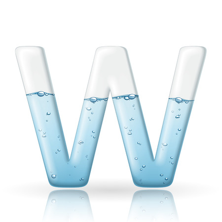 3d clean water letter W isolated on white background