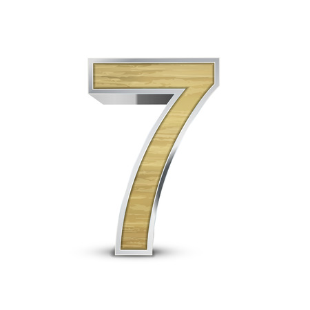 number 7: 3d attractive wooden number 7 isolated on white background
