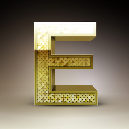 the letter e: 3d golden sequins letter E isolated on brown background
