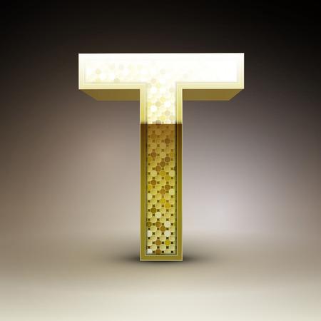 t background: 3d golden sequins letter T isolated on brown background Illustration