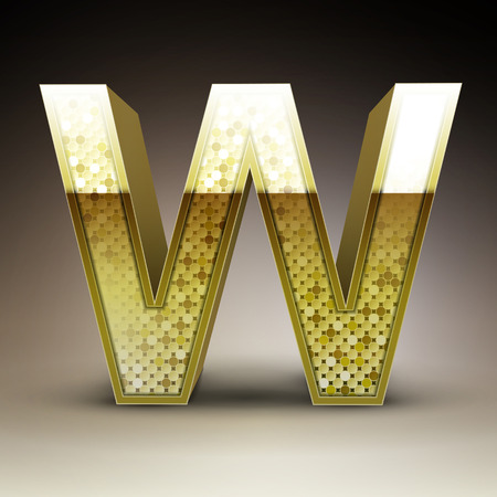 sequins: 3d golden sequins letter W isolated on brown background