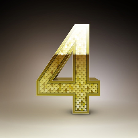 number 4: 3d golden sequins number 4 isolated on brown background