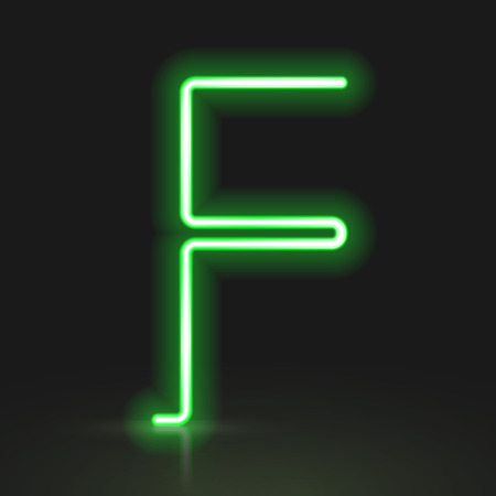 letter f: 3d green neon light letter F isolated on black background