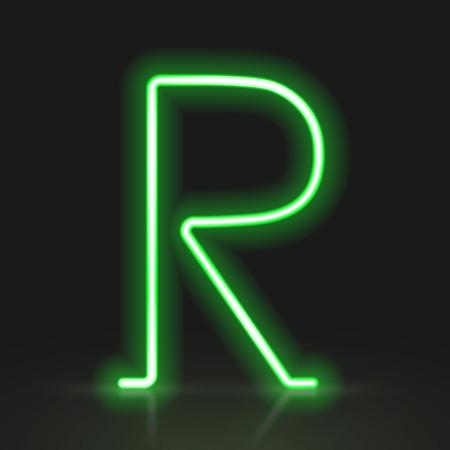 r: 3d green neon light letter R isolated on black background Illustration