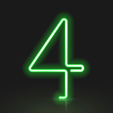 number 4: 3d green neon light number 4 isolated on black background