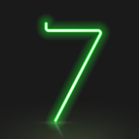 number 7: 3d green neon light number 7 isolated on black background Illustration