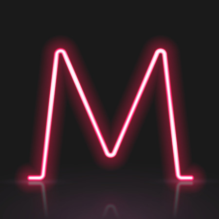 3d red neon light letter M isolated on black background