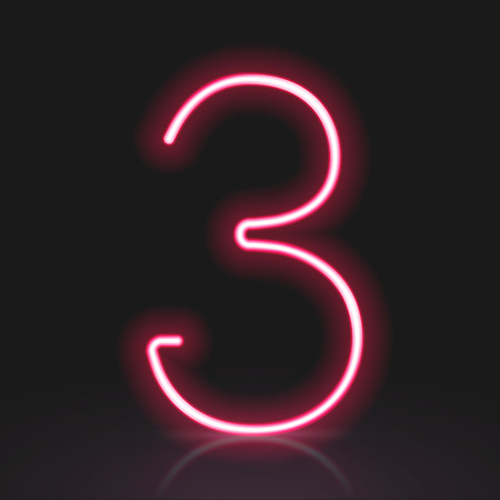 number 3: 3d red neon light number 3 isolated on black background