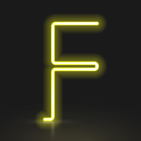 letter f: 3d yellow neon light letter F isolated on black background Illustration