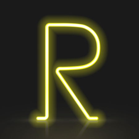 neon light: 3d yellow neon light letter R isolated on black background
