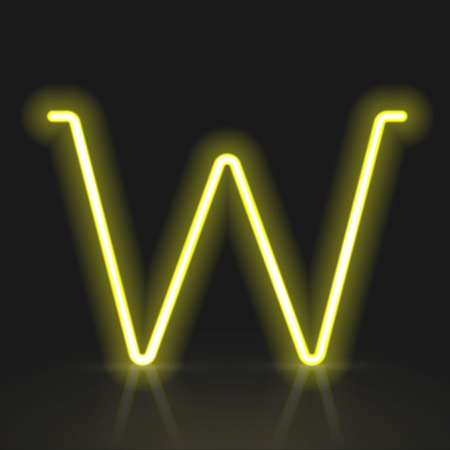 neon light: 3d yellow neon light letter W isolated on black background