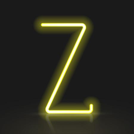 buchstabe z: 3d gelben Neonlicht Buchstaben Z auf schwarzem Hintergrund isoliert