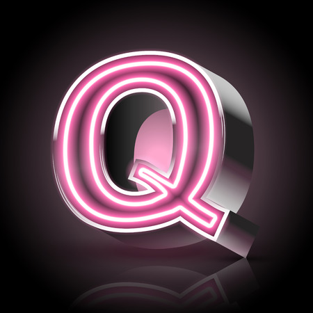 letter q: 3d pink neon light letter Q isolated on black background