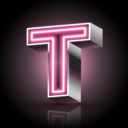 t background: 3d pink neon light letter T isolated on black background