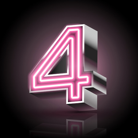 number 4: 3d pink neon light number 4 isolated on black background Illustration