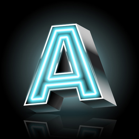 neon light: 3d blue neon light letter A isolated on black background