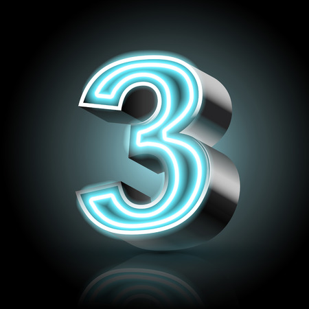 number 3: 3d blue neon light number 3 isolated on black background
