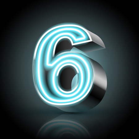 number 6: 3d blue neon light number 6 isolated on black background