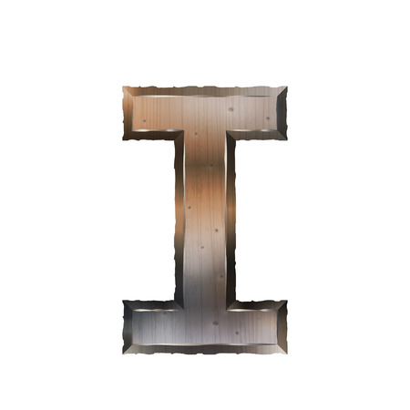 letter i: 3d old grunge metal letter I isolated on white background