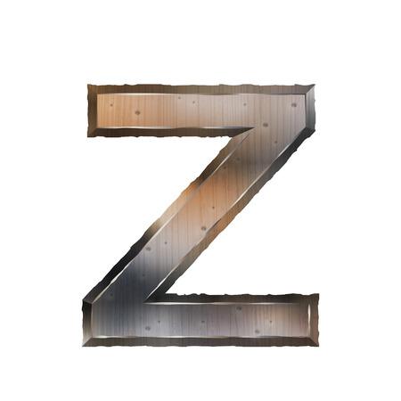 buchstabe z: 3d alten Grunge-Metall-Buchstabe Z isoliert auf wei�em Hintergrund