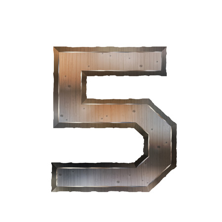 number 5: 3d old grunge metal number 5 isolated on white background Illustration