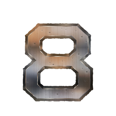 number 8: 3d old grunge metal number 8 isolated on white background Illustration