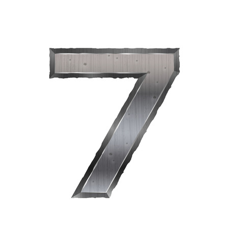 number 7: 3d metal number 7 isolated on white background