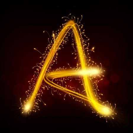 sparkler: 3d sparkler firework letter A isolated on black background