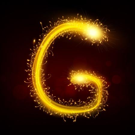 sparkler: 3d sparkler firework letter G isolated on black background