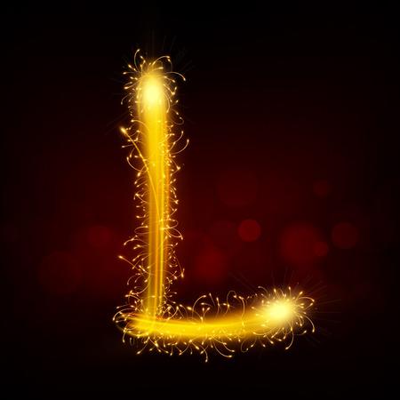 l background: 3d sparkler firework letter L isolated on black background