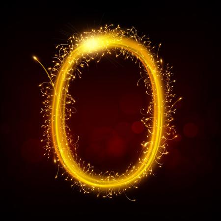 3d sparkler firework letter O isolated on black background