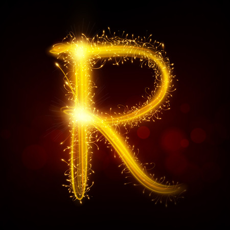 R: 3d sparkler firework letter R isolated on black background Illustration